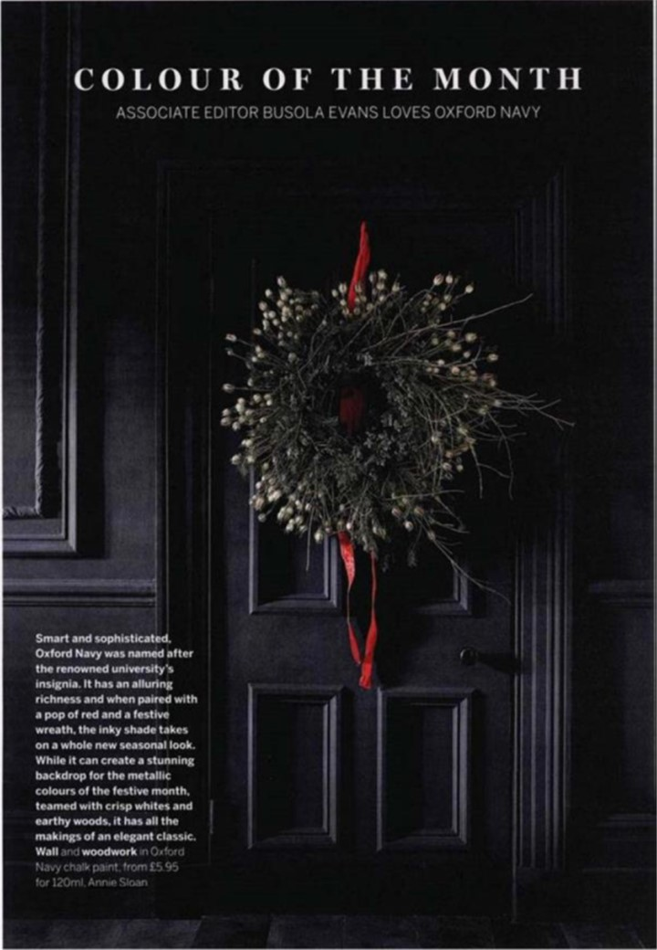 A full page for Annie Sloan's Oxford Navy in Homes & Gardens, December