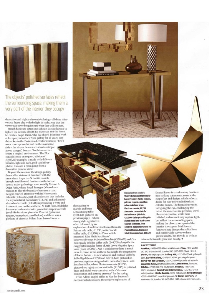 All the shiny - Jonathan Adler's Electrum console in FT How to Spend It