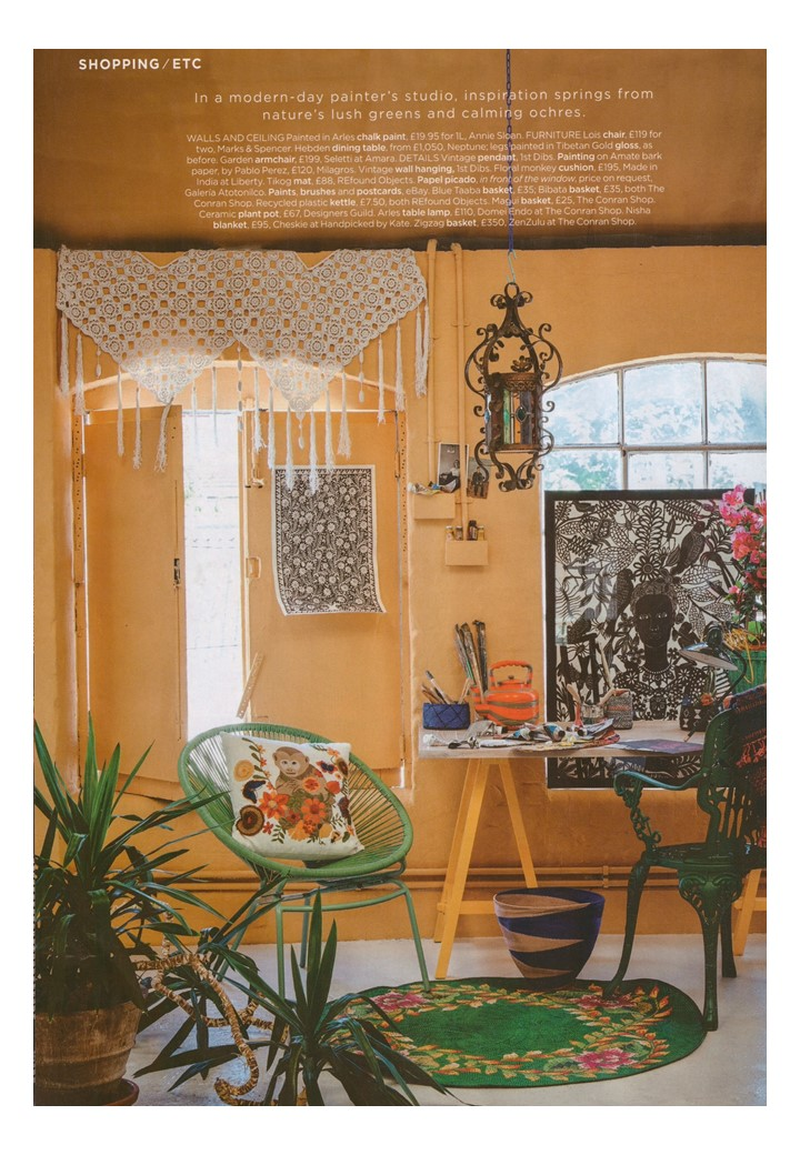 Annie Sloan Chalk Paint in Arles yellow lays the foundation for Living etc's Frida Kahlo masterpiece
