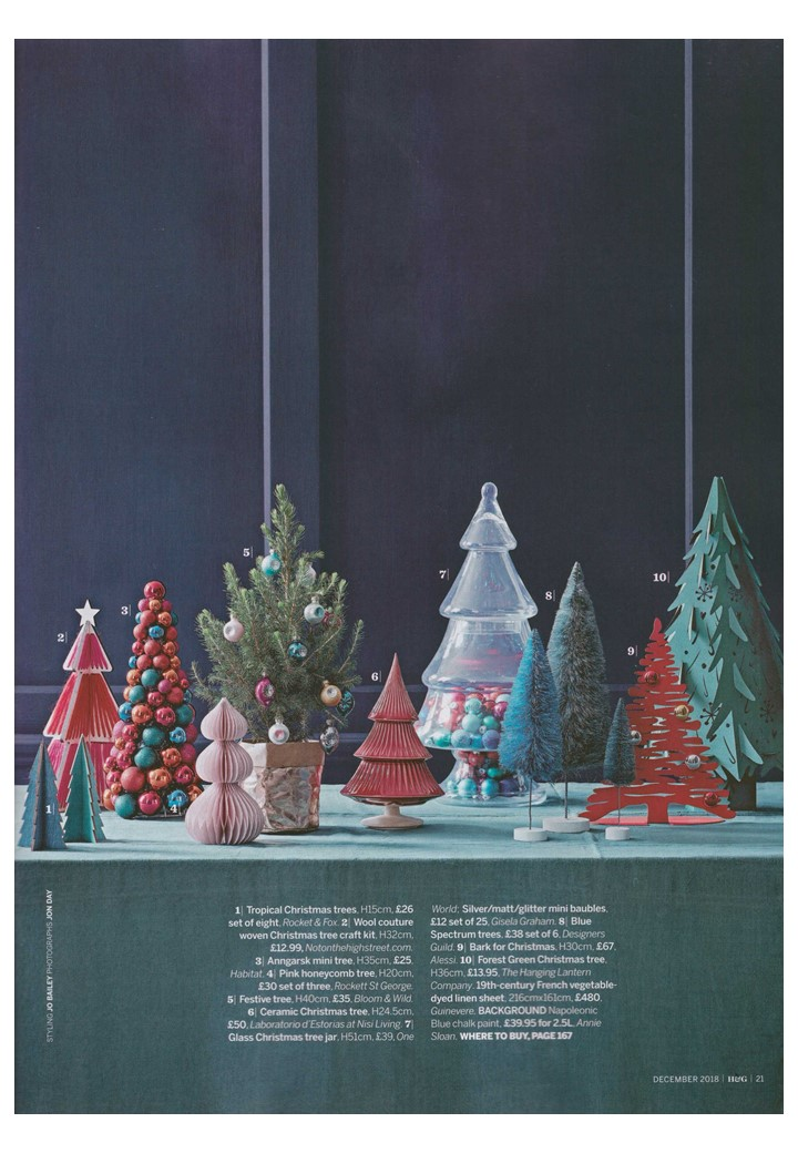 COVERAGE Annie Sloan Napoleonic Blue Chalk Paint provides the perfect backdrop to Homes & Garden's festive tabletop forest