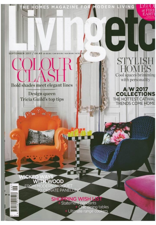 Check Mate! Jonathan Adler acrylic chess wins the cover of Living etc, September