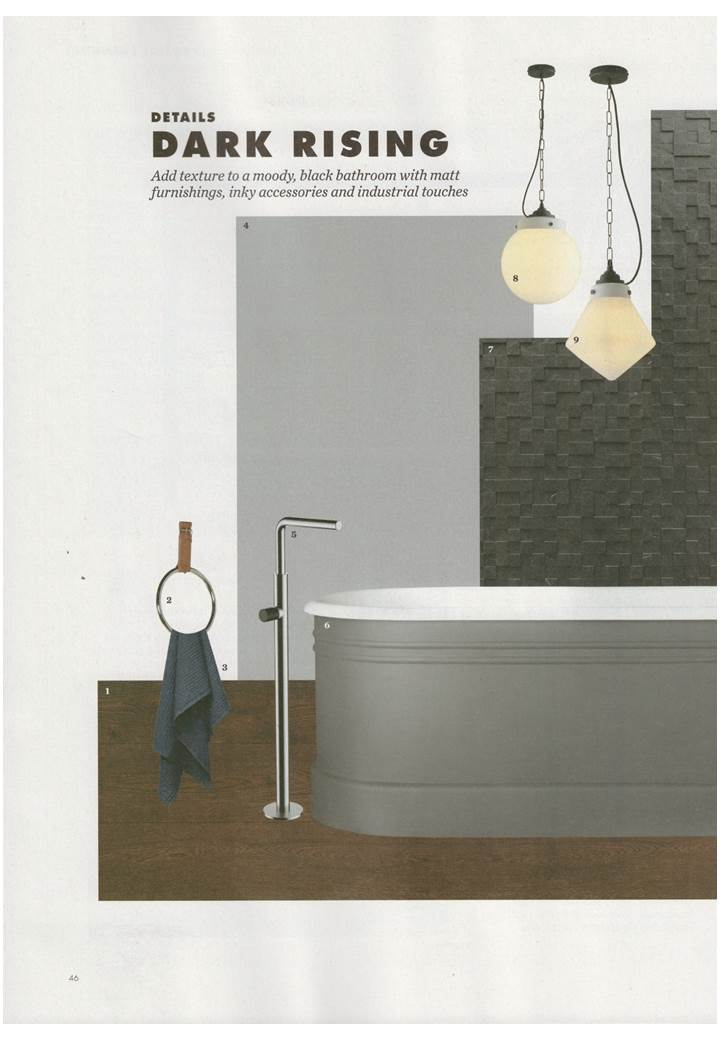 Davey Lighting's Point and Hampton hand blown glass pendants hanging out in Elle Decoration's October bathrooms special