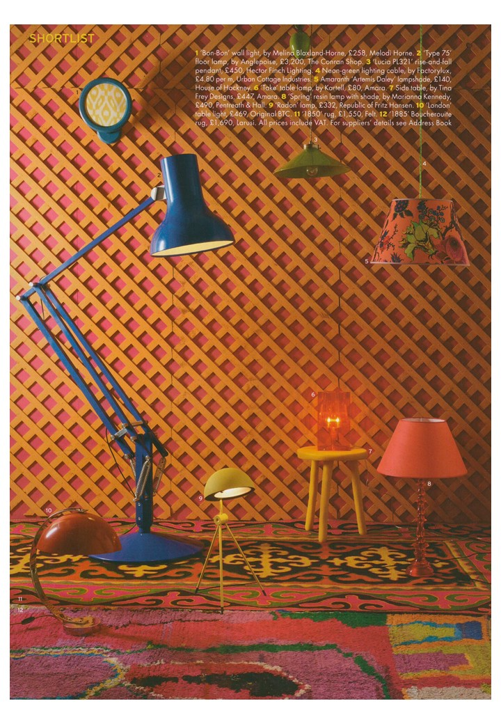 Iconic colour pop lights in World of Interiors and of course Original BTC's London makes an appearance...
