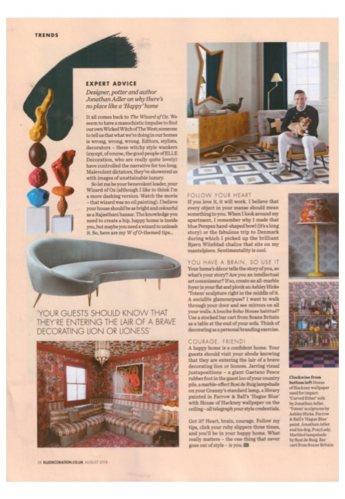 Jonathan Adler is the expert on creating a hip happy home in August's Elle Deco