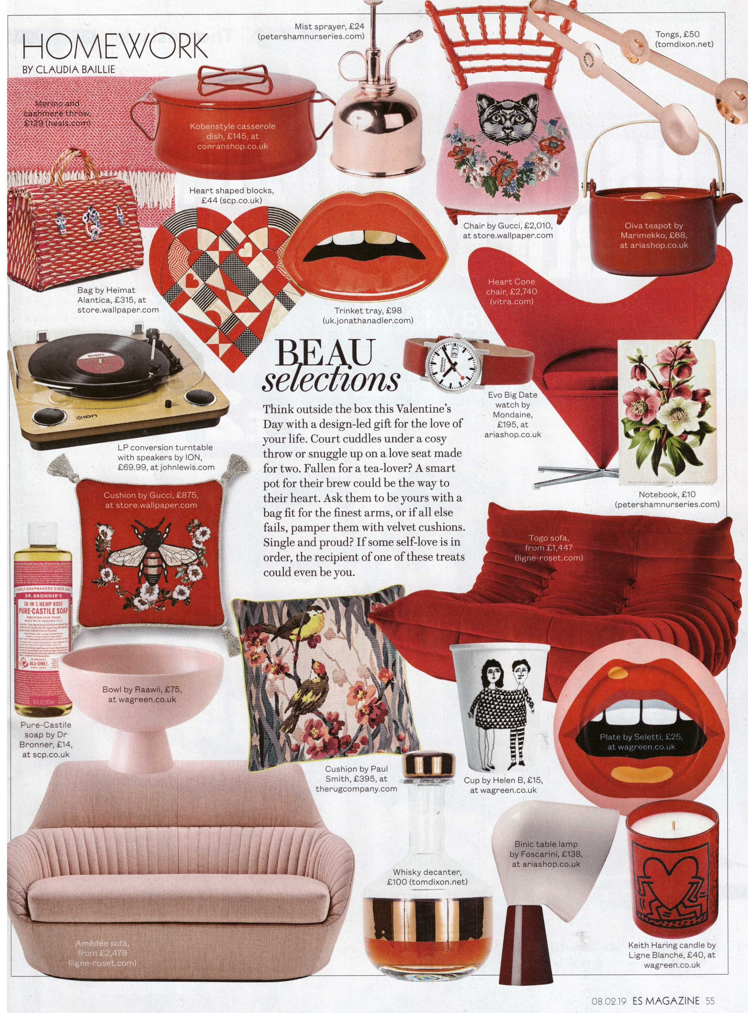 Jonathan Adler's gold tooth trinket tray and Ligne Roset sofa and armchair are the perfect gifts for your enamorata, say ES Mag