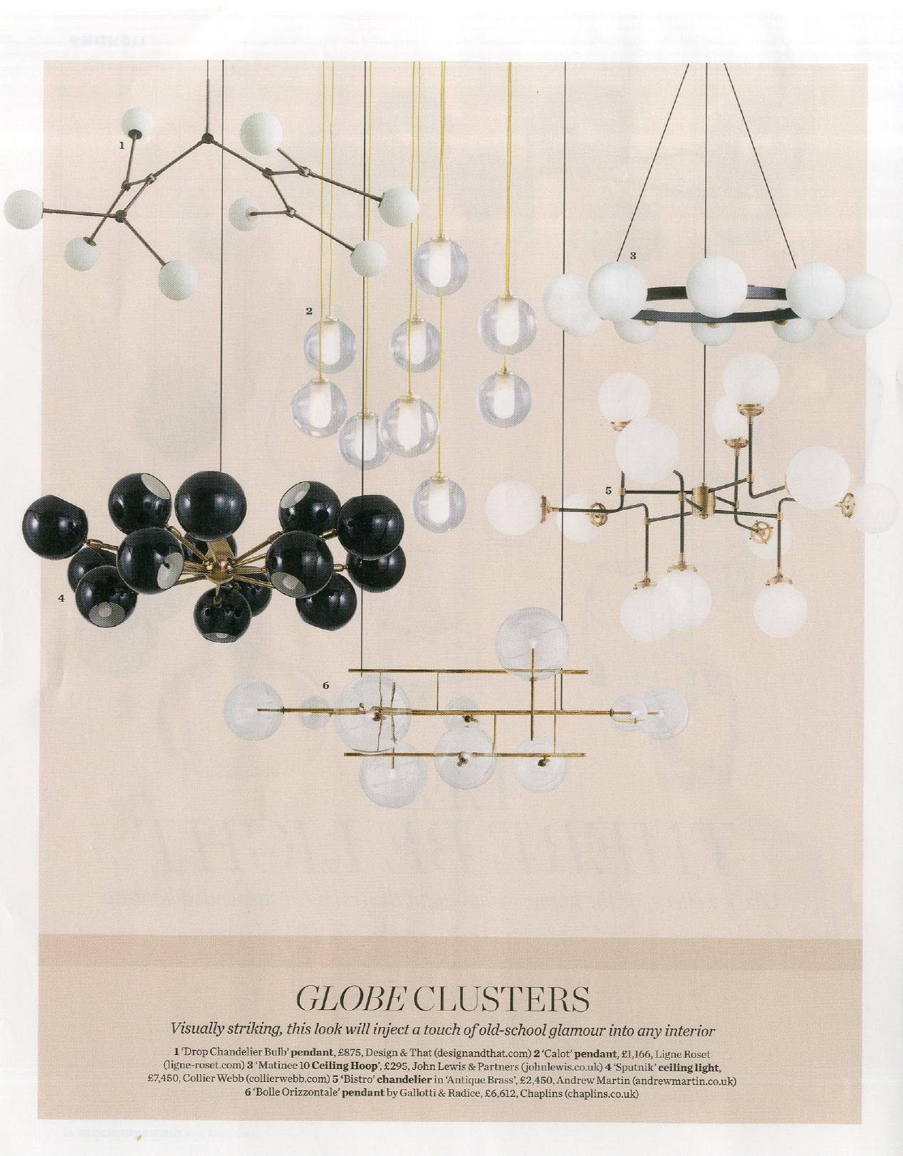 Ligne Roset's Calot pendants channel old school glamour in Elle Decoration, December