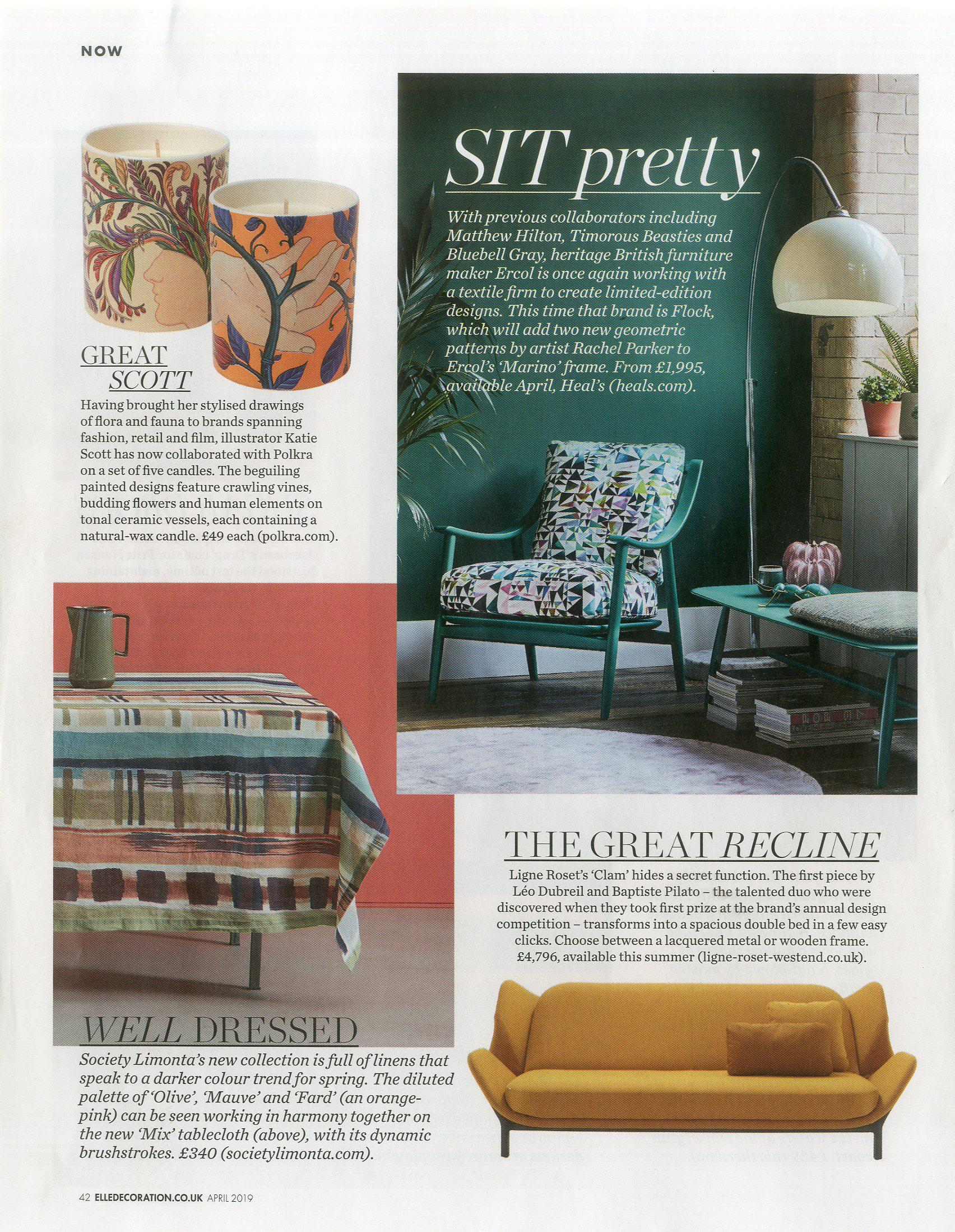 Ligne Roset's Clam sofa bed looking good enough to sleep on in Elle Deco, April