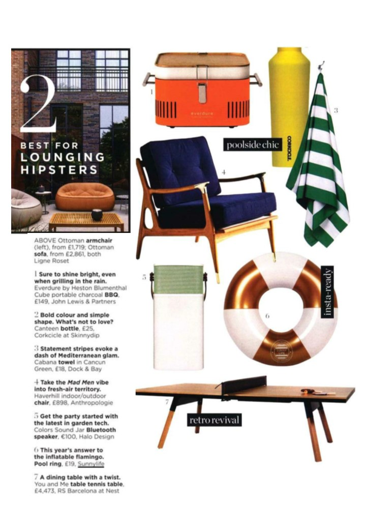 Living Etc says Ligne Roset's Pumpkin outdoor sofa and a Sunnylife pool float make the perfect hipster summer hang outs