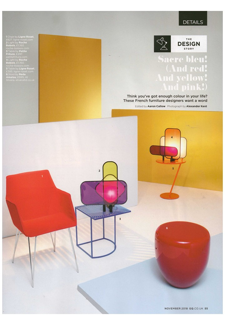 Sacre bleu - and yellow and red. A Ligne Roset table and chair make GQ October