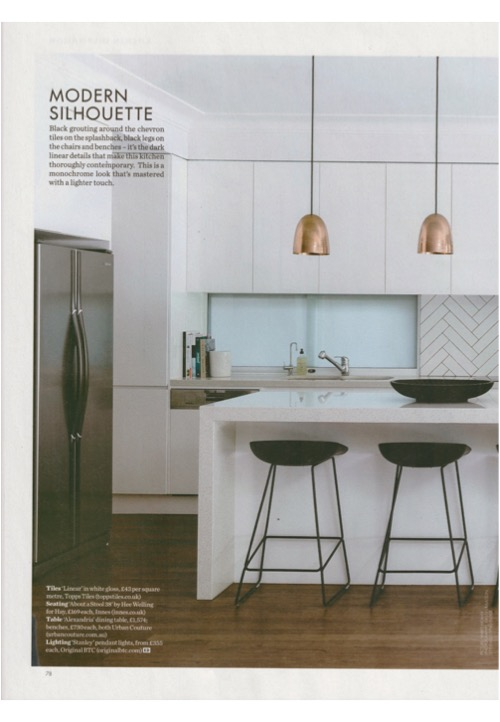 Sleek and oh so chic - Original BTC's Stanley pendants in Elle Decoration March's Kitchens supplement