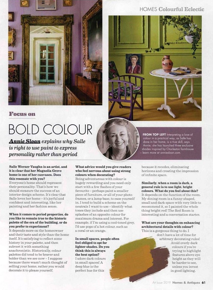 The Queen of Colour Annie Sloan makes her presence felt in Homes & Antiques' August Art Issue
