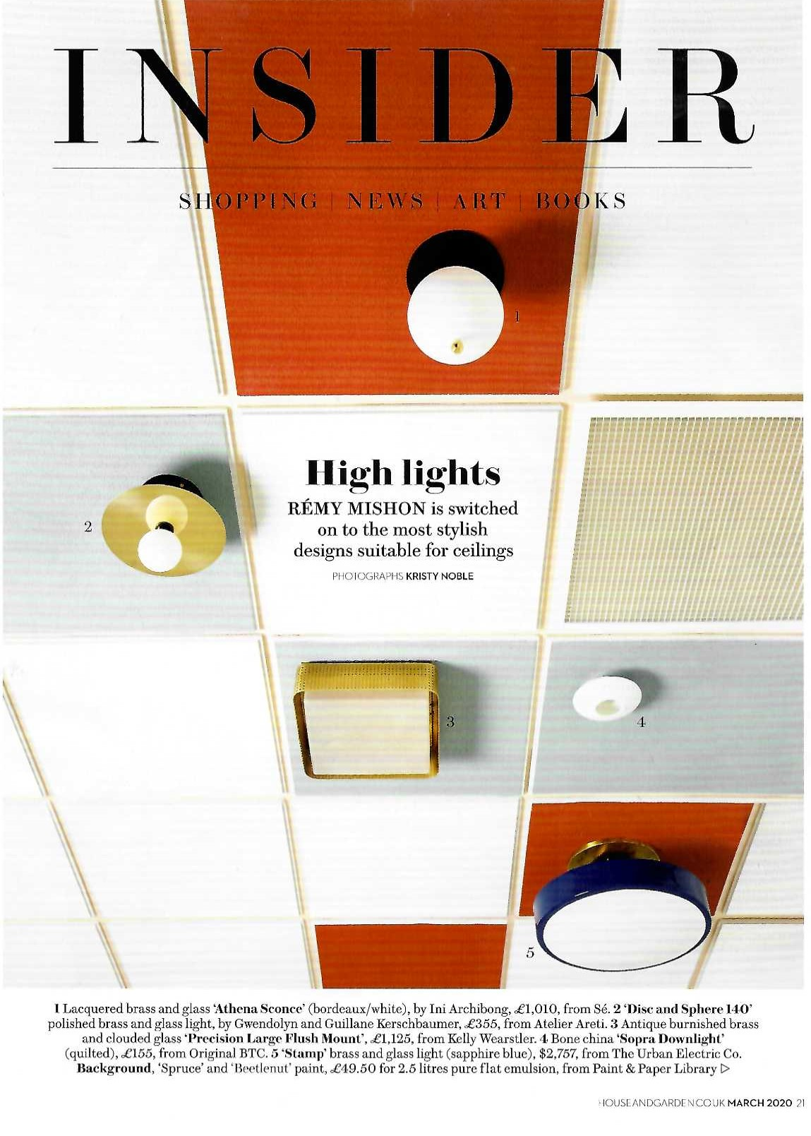 The only way (to look) is up, with Original BTC's bone china Sopra downlight in House and Garden, March