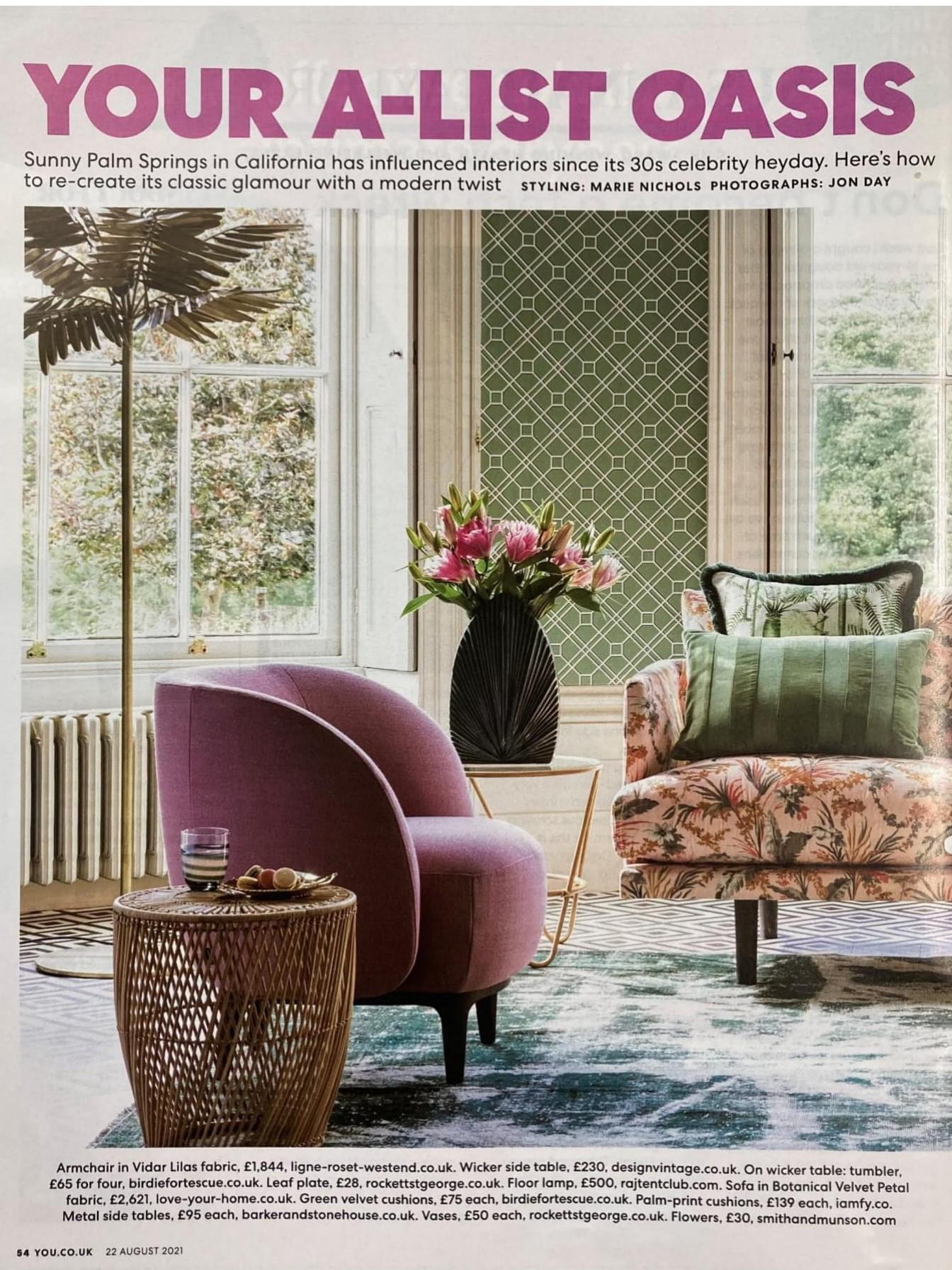 A triple whammy in You Magazine's Palm Springs shoot - Ligne Roset's Soufflot armchair, Raj Tent Club's Palm floor light...