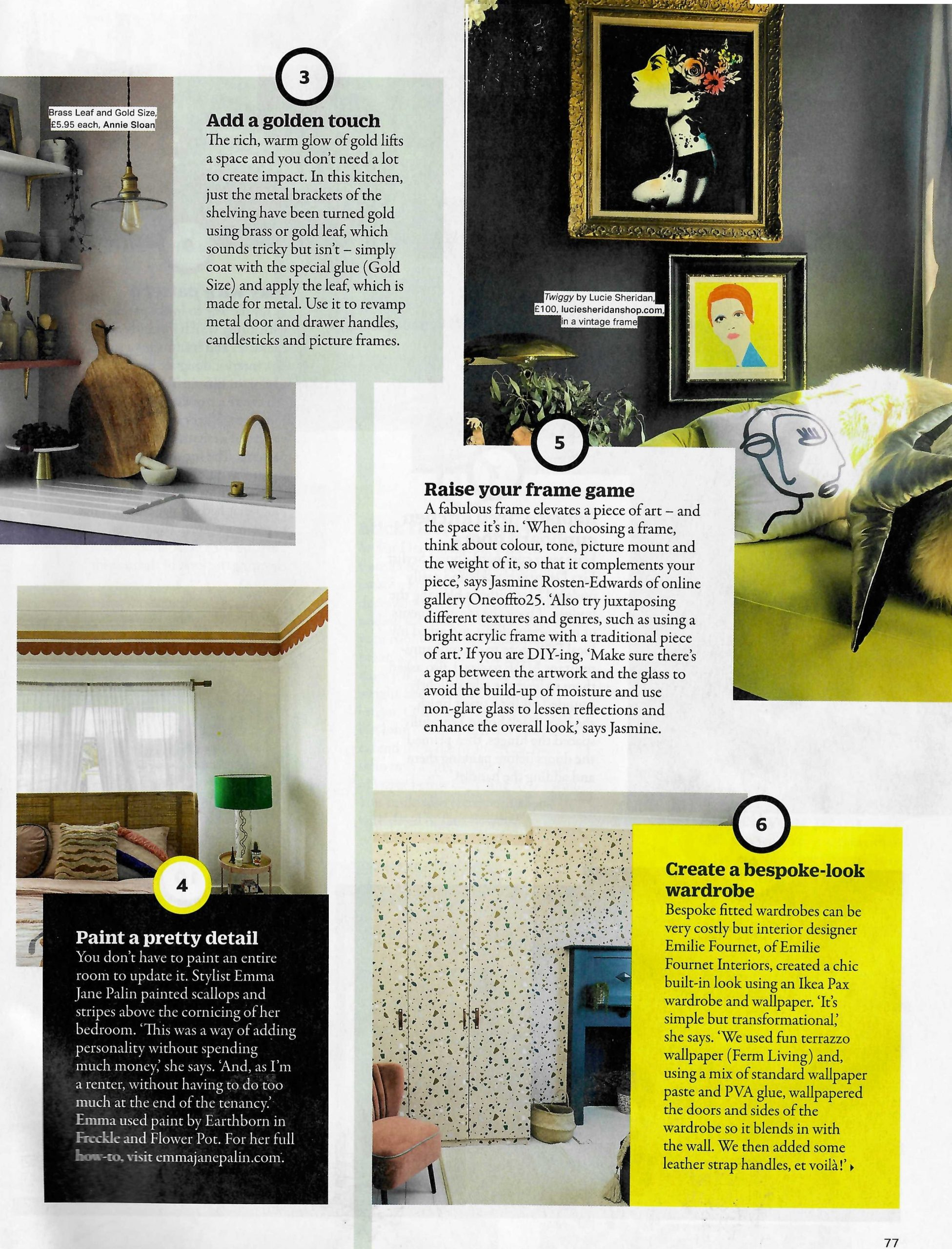 Add a golden touch to your home with Annie Sloan's brass leaf, says Grazia