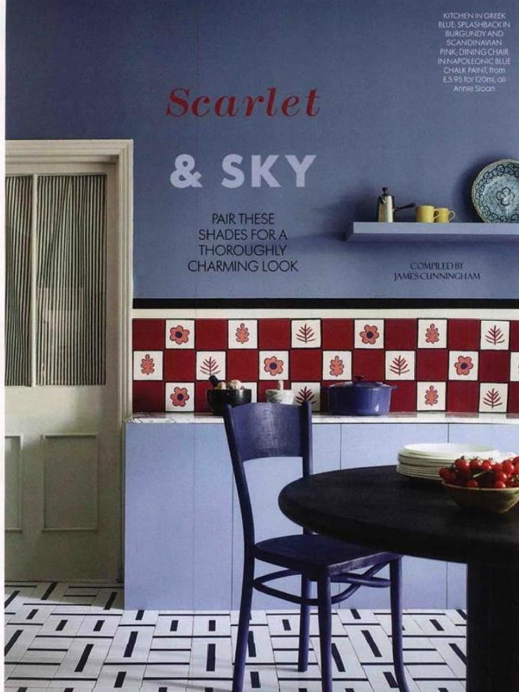 Annie Sloan's Chalk Paint-covered kitchen captures Red's colour combo of the month, scarlet and sky