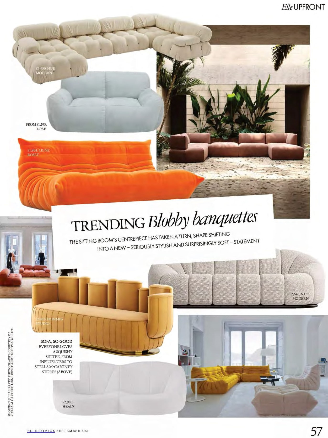 Blobby banquettes are trending in Elle, including Ligne Roset's iconic Togo and Pumpkin. Sofa, so good.