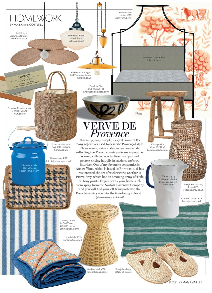 ES Magazine are channeling the charm of Provence with Annie Sloan's Ticking fabric
