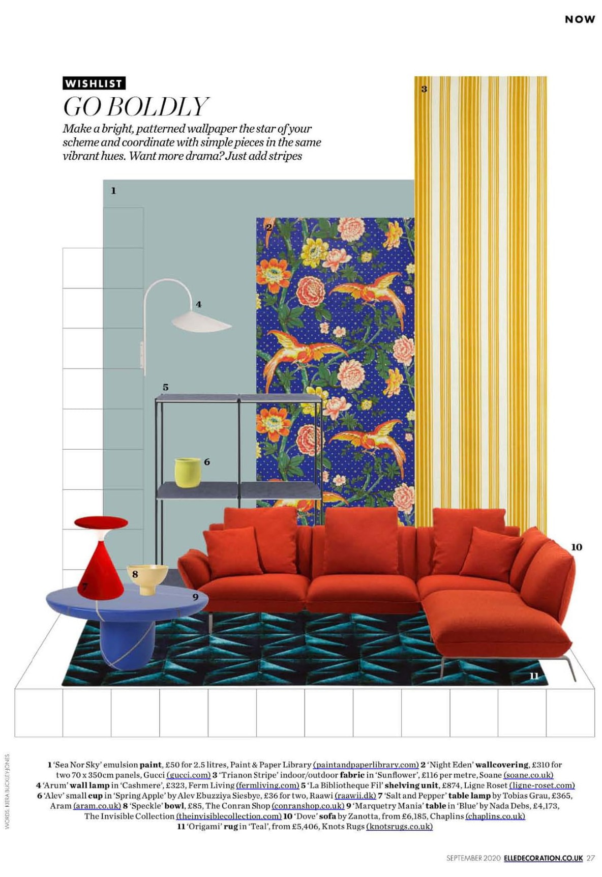 Elle Decoration suggests Ligne Roset's La Bibliotheque Fil as the perfect pairing for a bold wallpaper