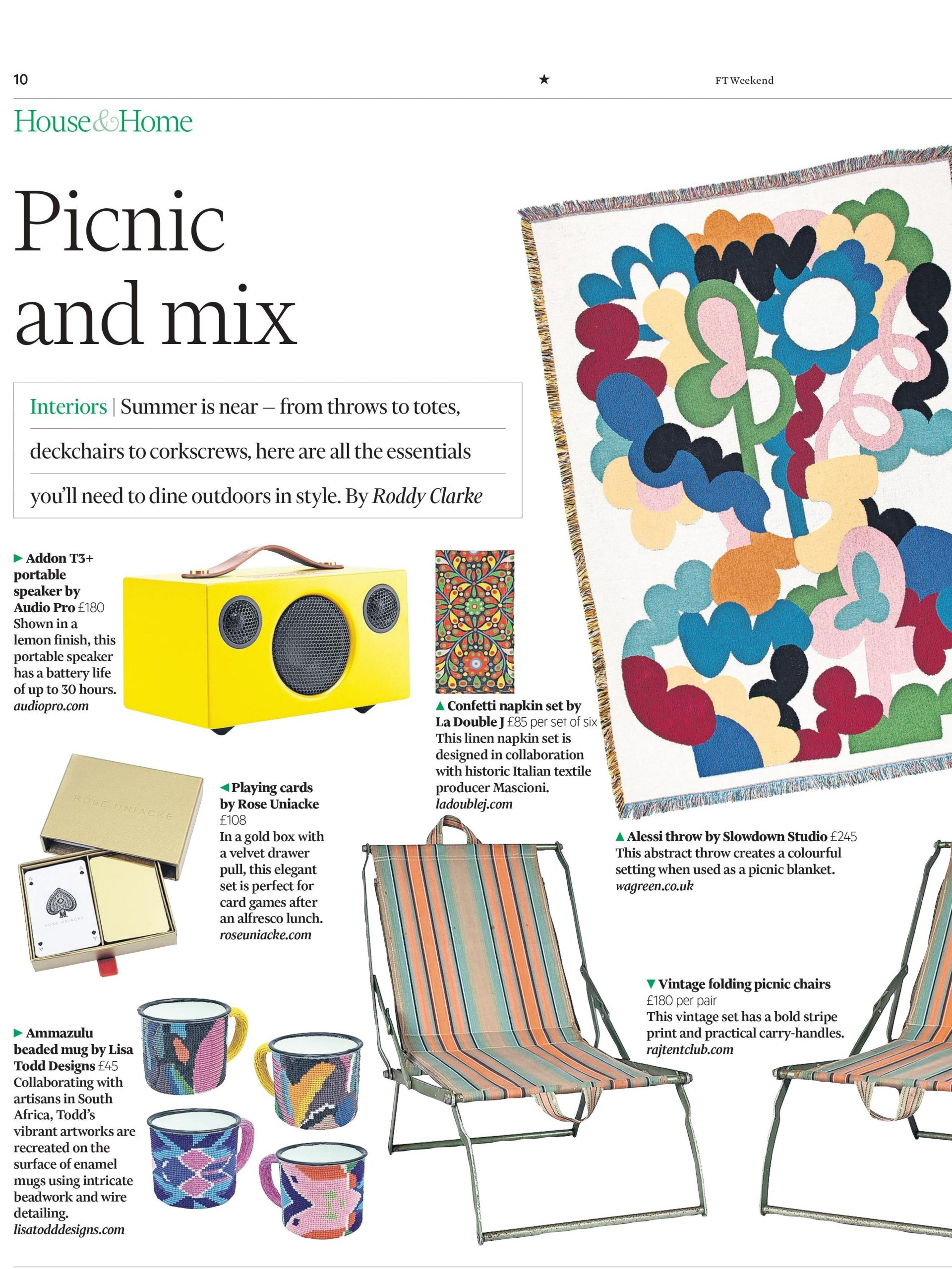 FT Weekend are dining out on Raj Tent Club's vintage folding picnic chairs