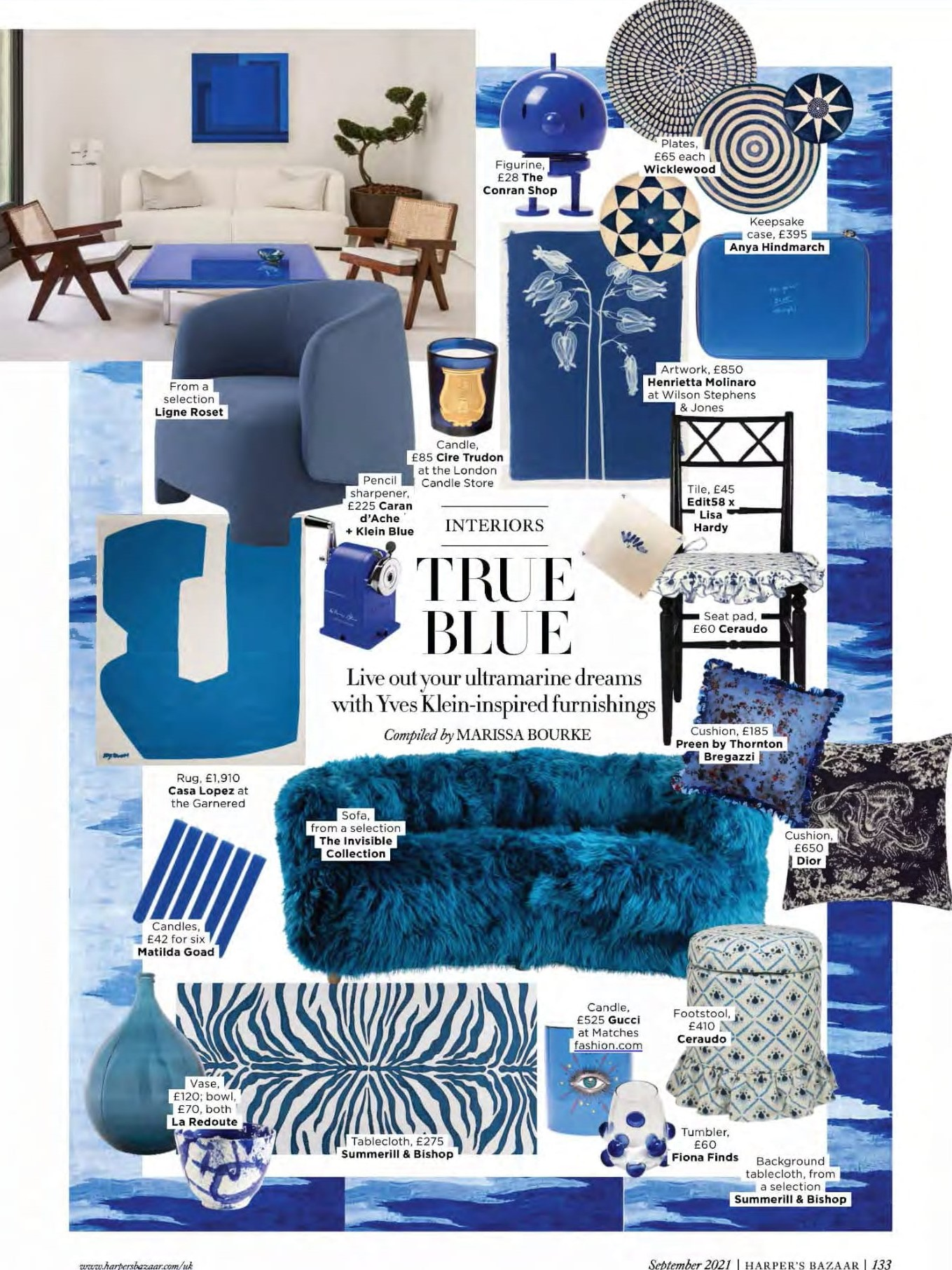 Harper's Bazaar are living out their ultramarine dreams with Ligne Roset's Taru armchair