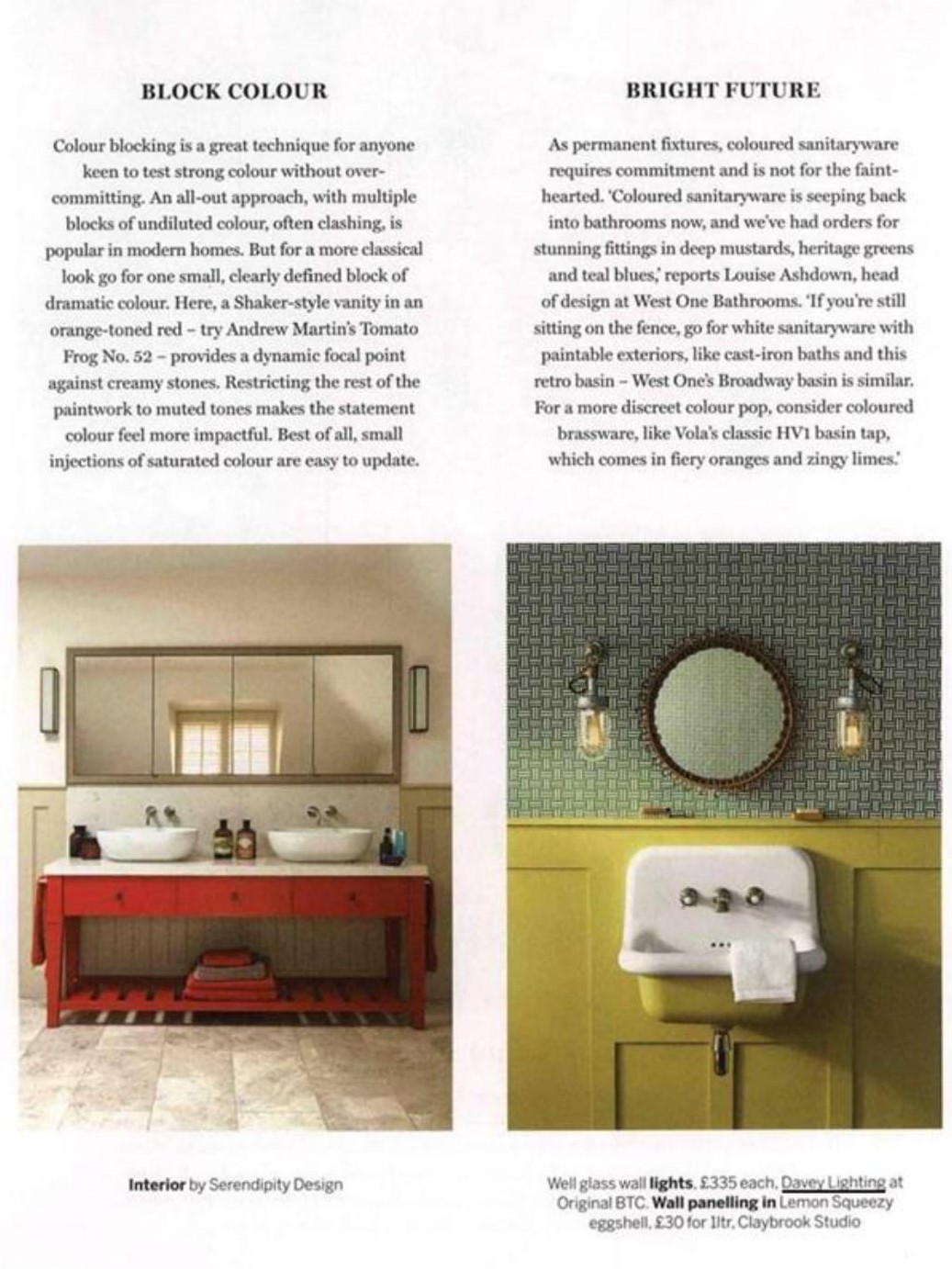 Homes & Gardens see a bright future for your bathroom with Davey's Well Glass wall lights