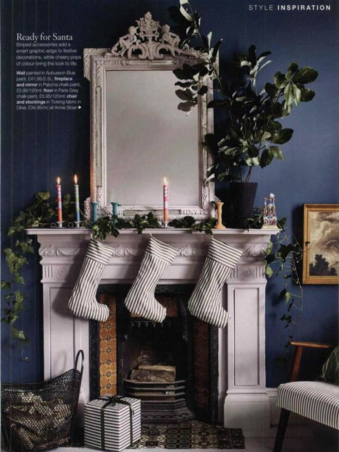 It's a double full-page whammy for Annie Sloan this month, with an Aubusson blue living room in House Beautiful...