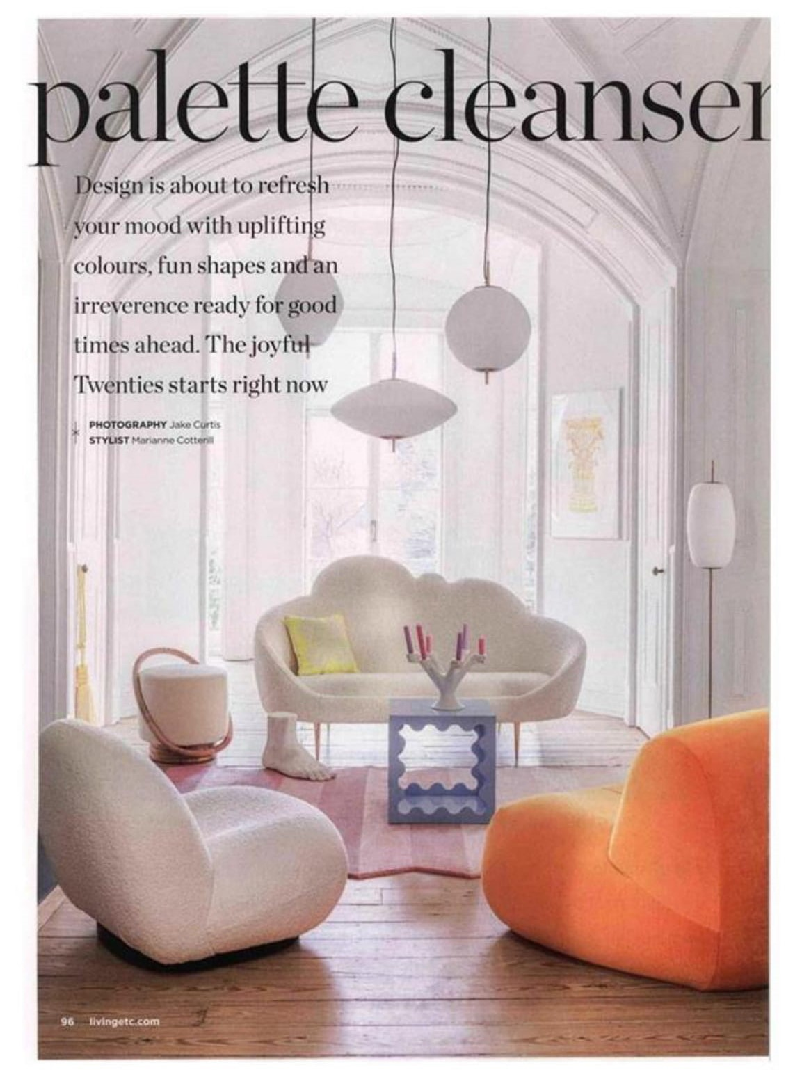 Living Etc are all for uplifting colours and fun shapes with Jonathan Adlers Ether sofa, Ripple cube and Ligne Roset's Pukka chair