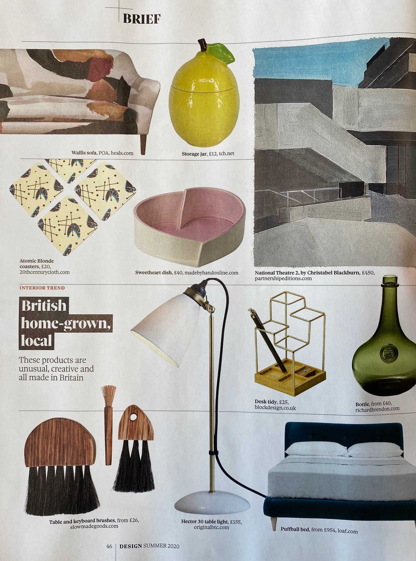 Original BTC's Hector 30 table light representing home grown talent in The Observer's Design supplement