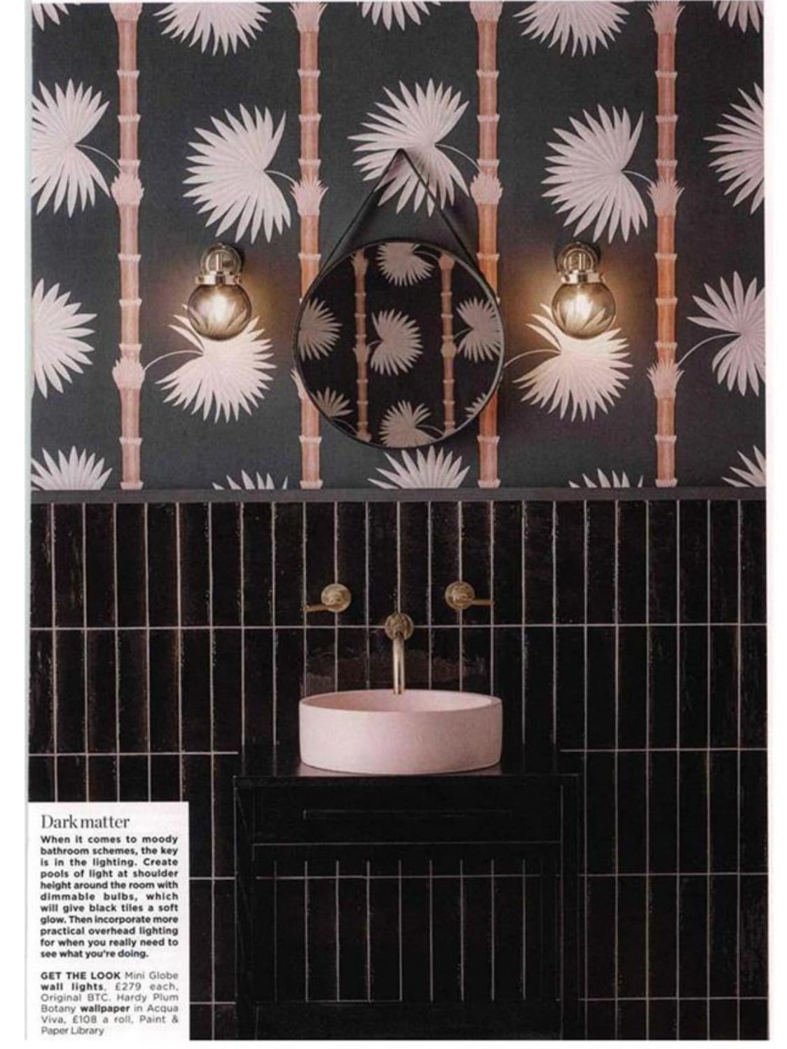 Original BTC's moody Mini Globe bathroom goes full-page in Living Etc