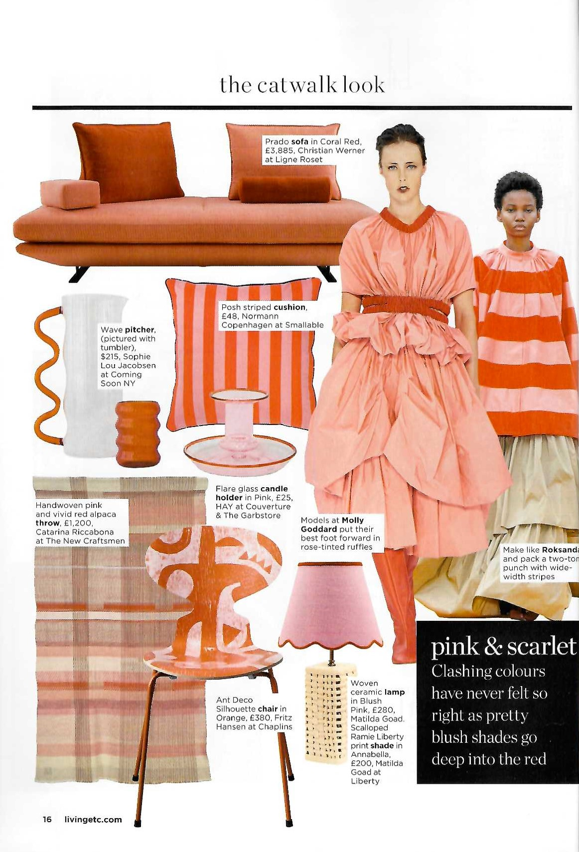 Pink and red is the colour clash to crush on says Living Etc, starring Ligne Roset's Prado sofa