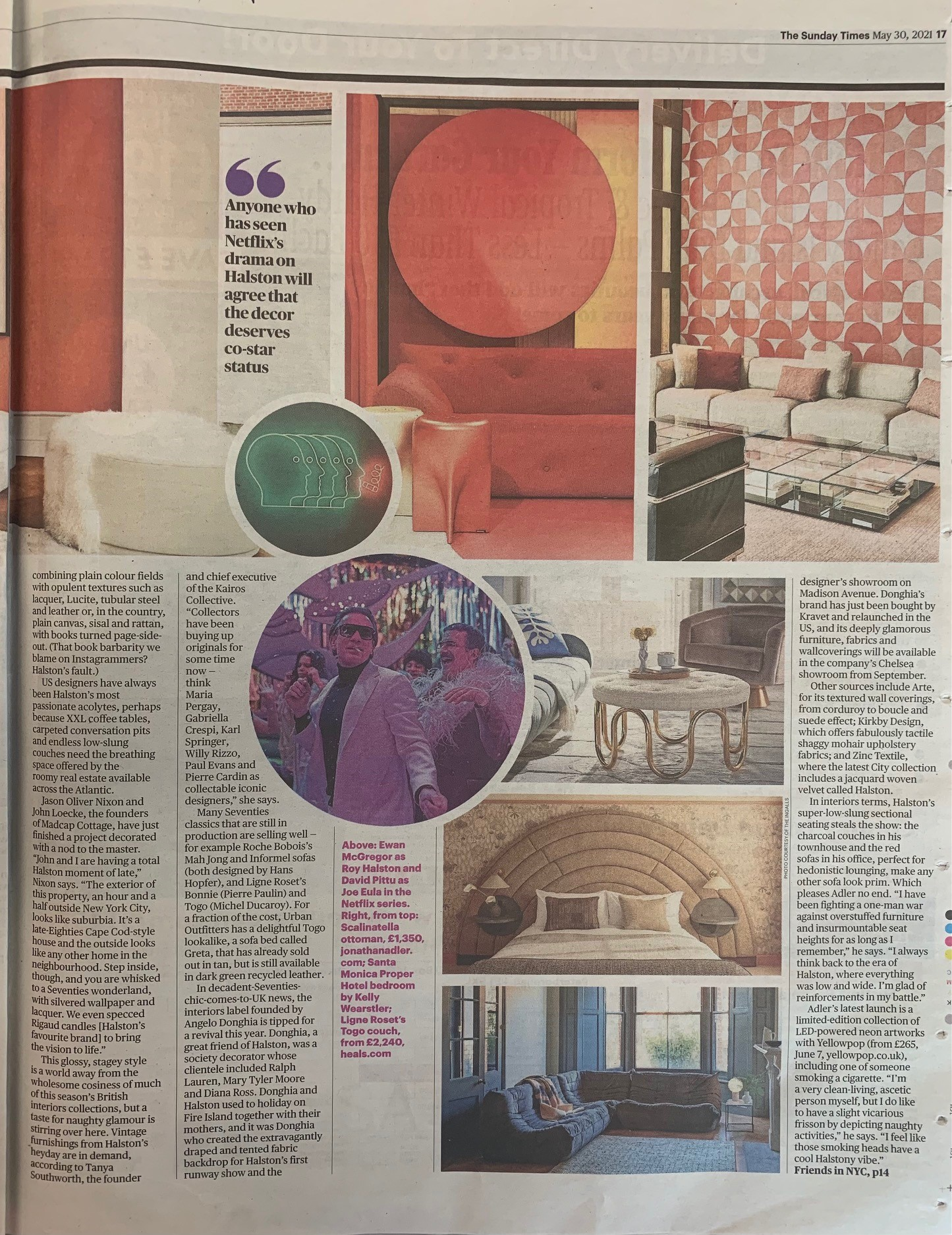 The Sunday Times are pining for the sleek, sexy Seventies with Jonathan Adler's Scalinatella ottoman and Ligne Roset's Togo