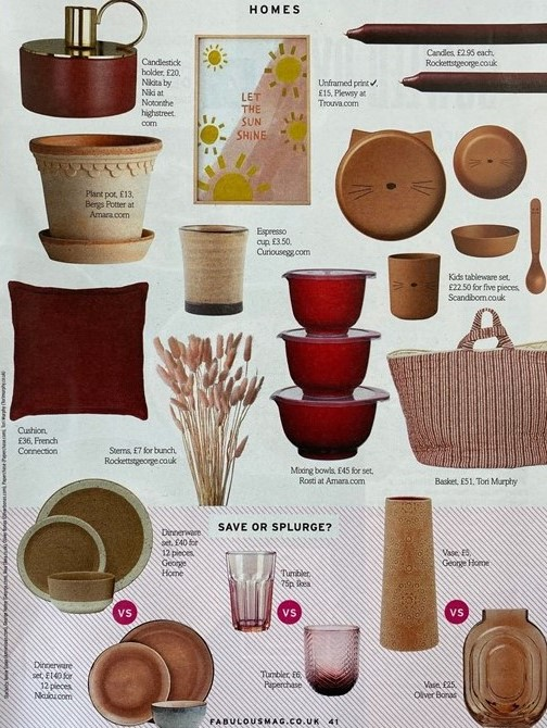Tori Murphy's storage basket sits perfectly with burgundy reds and plaster pinks in Fabulous' trend edit