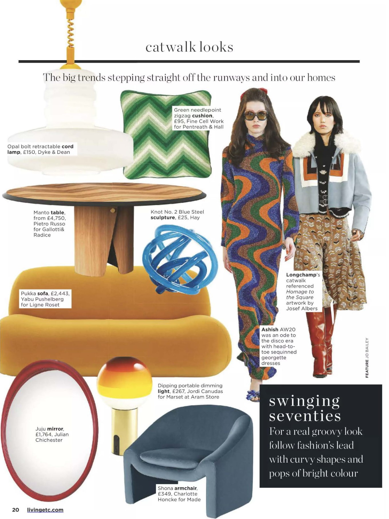 Two's company in Living Etc's Catwalk looks, first Ligne Roset's Pukka in swinging seventies...